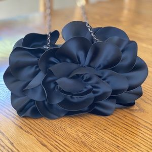 Sondra Roberts Evening Bag - Black Flower Petal